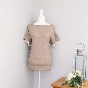 3.1 Phillip Lim Tan Wool Ruffle Sleeve Blouse XS